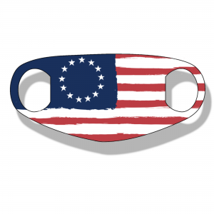 """The Betsy Ross Flag NEO face mask is made from a single thin layer of soft neoprene with ear loops incorporated into the design. They are stretchy and fit many different face shapes and sizes. They are extremely soft and breathable using a """"dye-sublimation"""" printing method."""