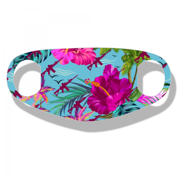 """The Big Luau Flag NEO face mask is made from a single thin layer of soft neoprene with ear loops incorporated into the design. They are stretchy and fit many different face shapes and sizes. They are extremely soft and breathable using a """"dye-sublimation"""" printing method."""